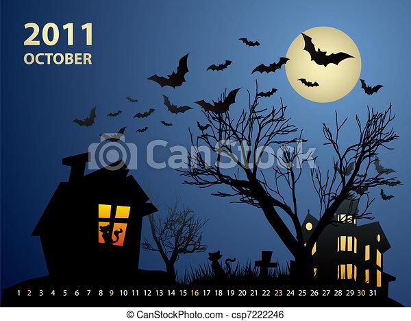 October calendar - Halloween with haunted house, bats and pumpkin - csp7222246