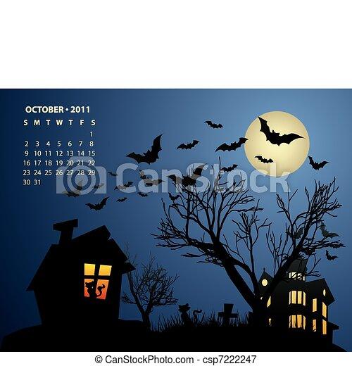October calendar - Halloween with haunted house, bats and pumpkin - csp7222247