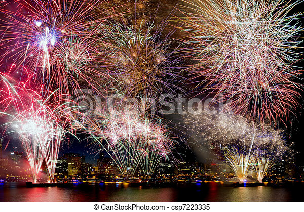 Fireworks Background with City Skyline - csp7223335