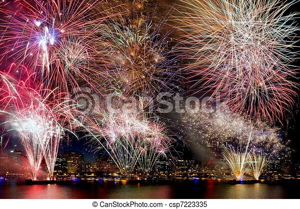 Fireworks Background with City Skyline - csp7223335