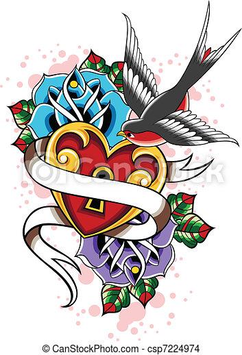 swallow rose heart tattoo - csp7224974