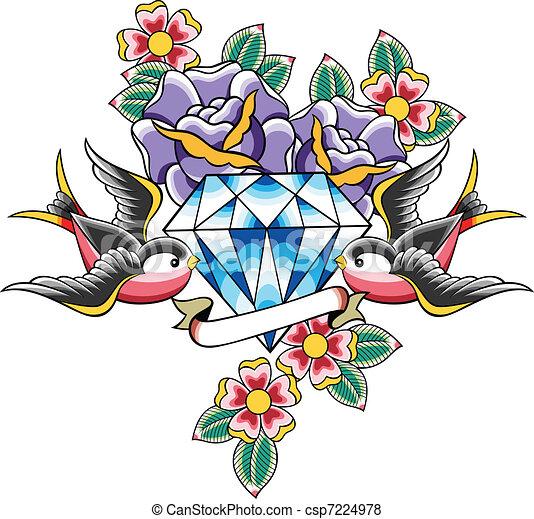 vector of bird and diamond flower tattoo csp7224978