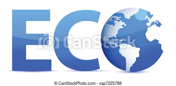 blue word Eco with 3D globe - csp7225788