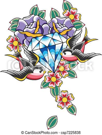 vector of bird and diamond flower tattoo csp7225838
