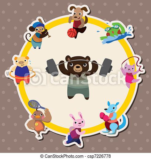 cartoon animal sport card - csp7226778