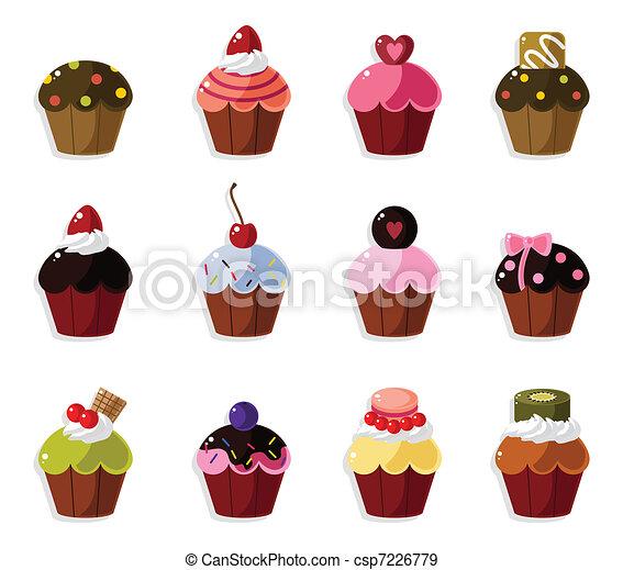 cartoon cake icons set  - csp7226779