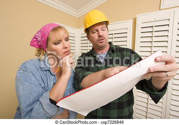 建築業者, 懸命に, 帽子, 論じる, 計画, 女 - csp72268... マレ, 建築業者