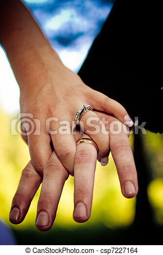 Groom and Bride Holding hands showi
