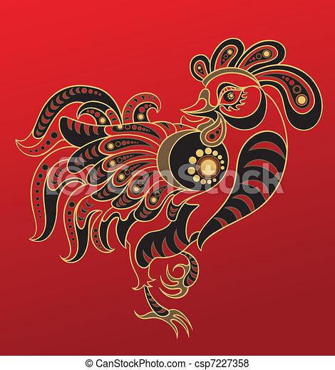 vektor von jahr chinesisches horoskop hahn abbildung von a csp7227358 suchen sie. Black Bedroom Furniture Sets. Home Design Ideas