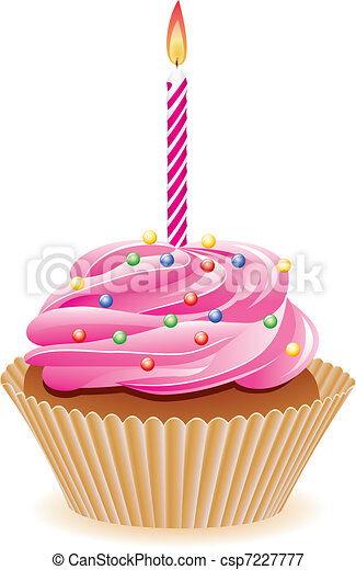 cupcake with burning candle - csp7227777