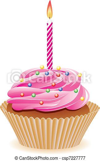 cupcake with burning candle - csp7227777