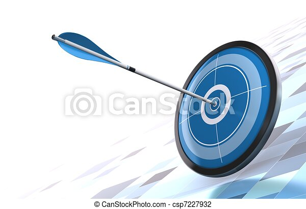 blue target and arrow over a modern background image is placed on the bottom right side  - csp7227932