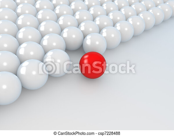 leadership concept, white and red balls - csp7228488