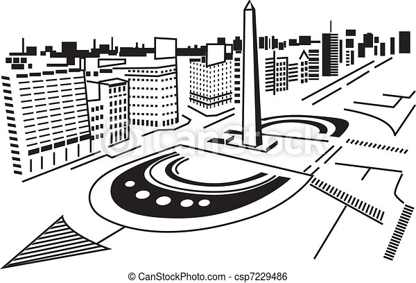 Clip Art Vector of Square in city. - Square in abstract ...
