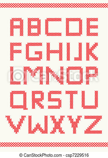 Cross stitch alphabet - csp7229516