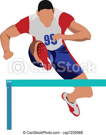 Man running hurdles. Vector illust - csp7230968