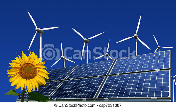 solar panels and wind turbines - csp7231887