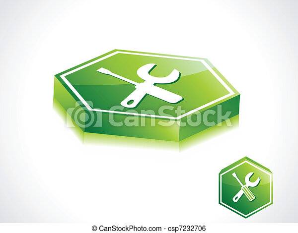 abstract green setting button - csp7232706