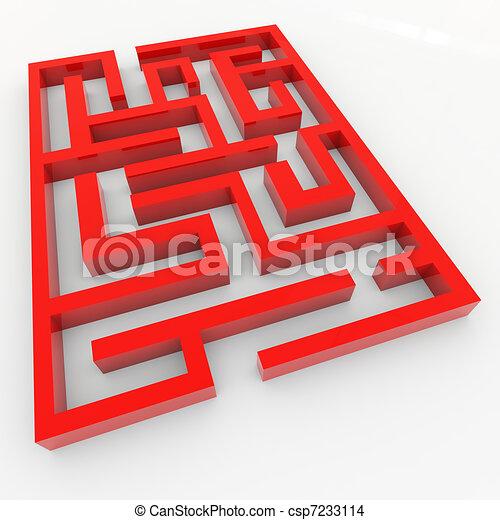 3d Maze Drawing Red 3d Maze Csp7233114