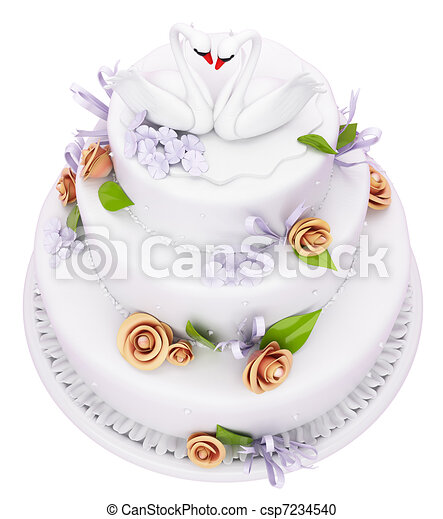 Wedding cake with roses and swans isolated - csp7234540