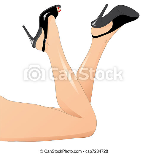 sexy woman legs with shoes isolated on white background - csp7234728