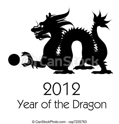 Chinese New Year of the Dragon 2012 Clip Art - csp7235763