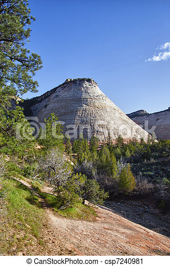 Rock formations in the Zion Canyon National Park, Utah - csp7240981