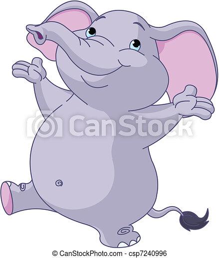 Cute   dancing elephant  - csp7240996
