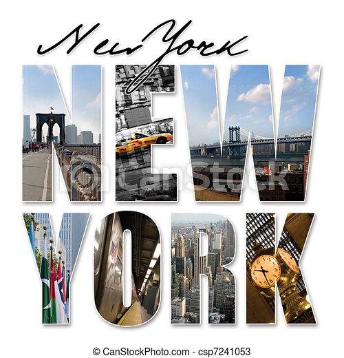 NYC New York City Graphic Montage - csp7241053