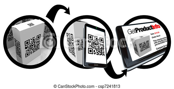 Scanning Product Box QR Code with Smart Phone - csp7241813