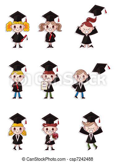 Cartoon Graduate students icons set  - csp7242488