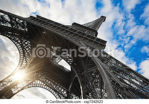 Eiffel tower in Paris wide angle shot - csp7242523