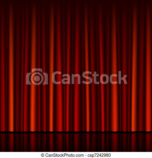 Seamless red curtain with stage - csp7242980
