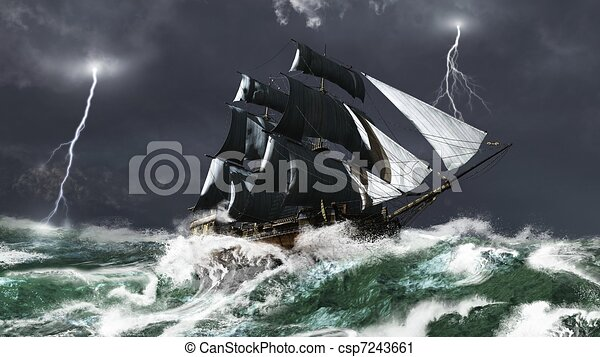 Sailing Ship in a Lightning Storm - csp7243661