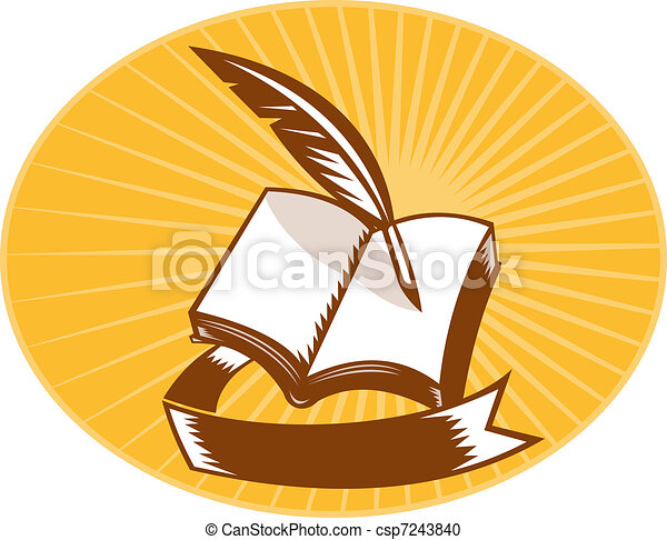 book with quill pen and scroll woodcut - csp7243840