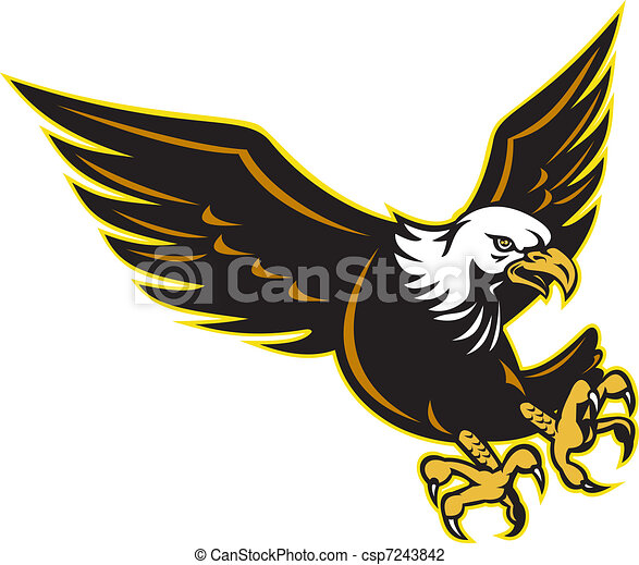 Clip Art of American Bald Eagle flying - illustration an American Bald ...