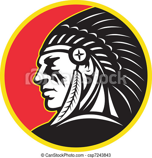 Native American Indian Chief Side - csp7243843