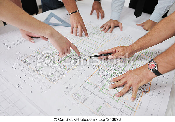 Team of architects on construction site - csp7243898