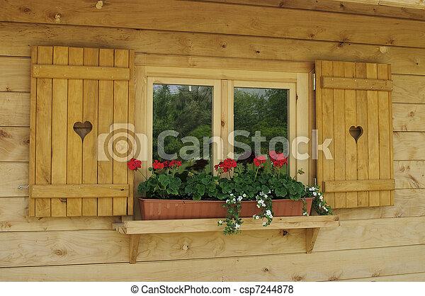 Images de fen tre a bois cadre d cor g ranium for Cadre fenetre bois