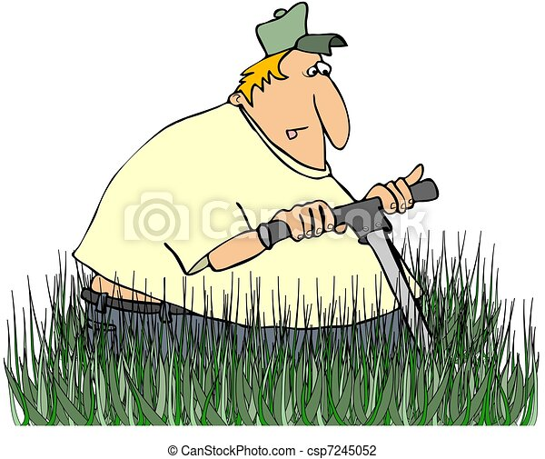 Man Mowing Tall Grass - csp7245052