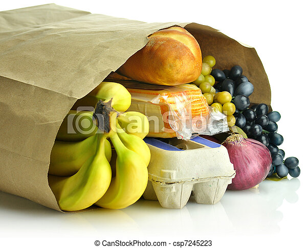 paper bag with groceries  - csp7245223
