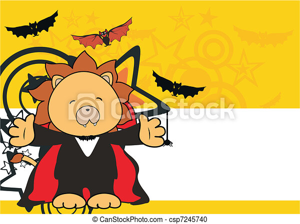 lion dracula cartoon background - csp7245740