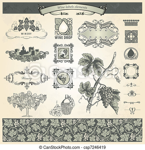 Vintage elements for wine labels  - csp7246419