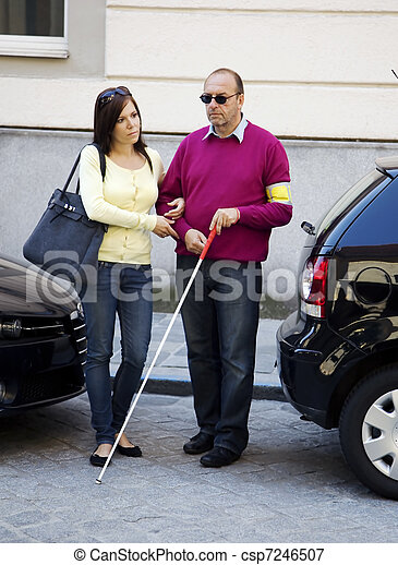 Woman and blind, visually impaired man - csp7246507