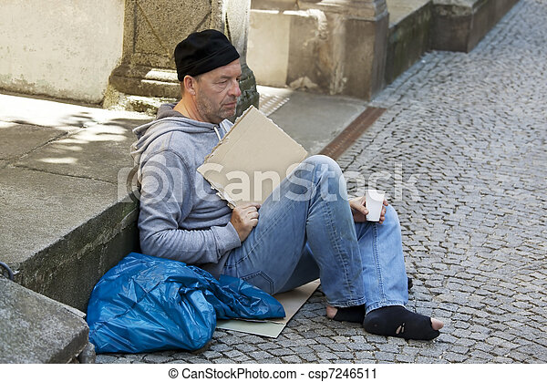 Unemployed homeless beggar - csp7246511