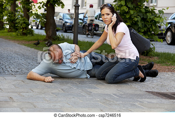 Man has heart attack or stroke - csp7246516