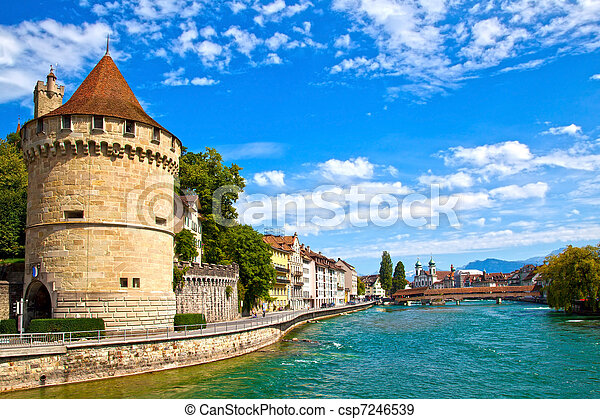 Reuss River in Lucerne, Switzerland - csp7246539