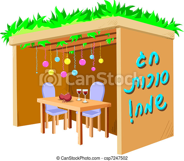 Sukkah For Sukkot With Table - csp7247502