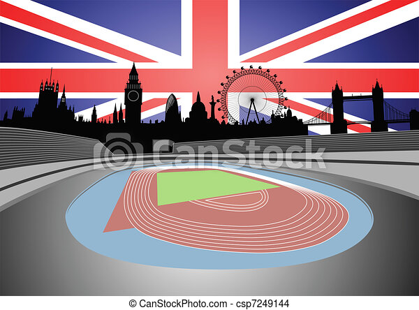 stadium with London skyline - csp7249144