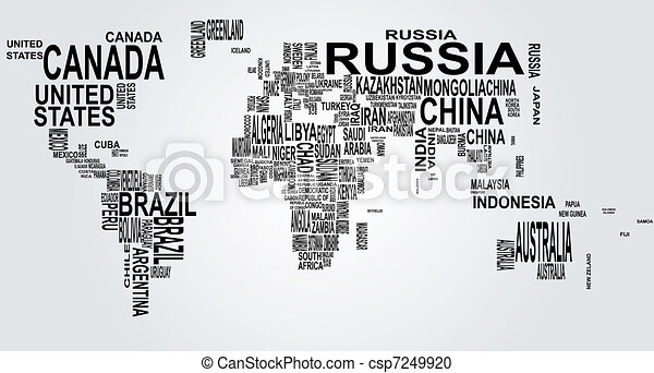 world map with country name - csp7249920